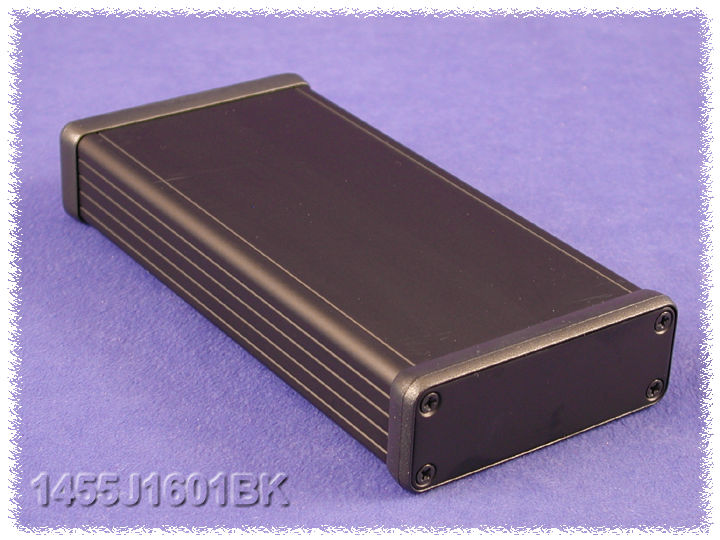 1455J1601BK - 1455 Series Extruded Aluminium Enclosures with Aluminium End Panels