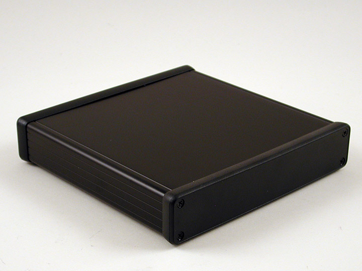 1455R1602BK - 1455 Series Extruded Aluminium Enclosures with Plastic End Panels