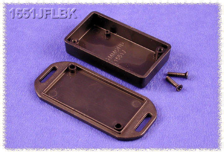 1551JFLBK - 1551 Series ABS Plastic Miniature Hand Held Enclosures with Mounting Flanges