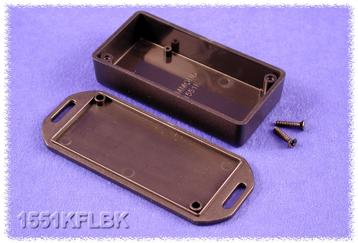 1551KFLBK - 1551 Series ABS Plastic Miniature Hand Held Enclosures with Mounting Flanges