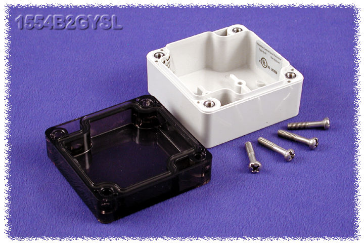 1554B2GYSL - 1554 Series Polycarbonate (UL Listed) Enclosures with Smoked Lid