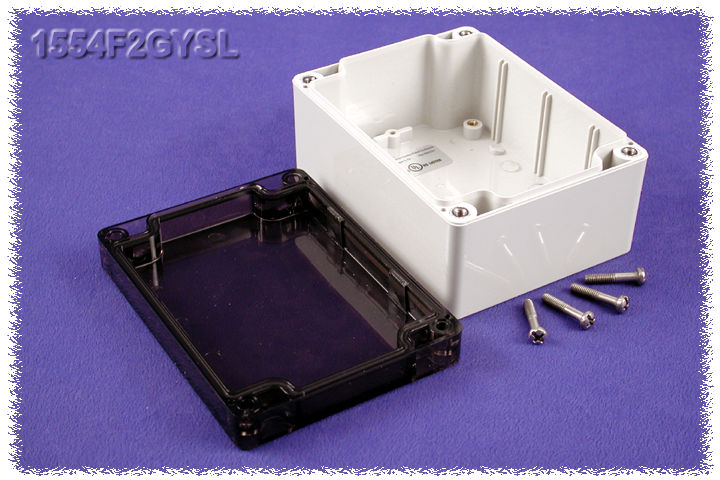1554F2GYSL - 1554 Series Polycarbonate (UL Listed) Enclosures with Smoked Lid