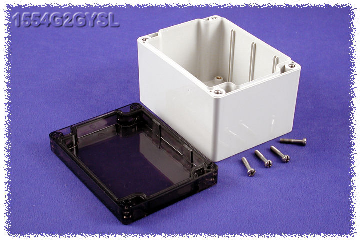 1554G2GYSL - 1554 Series Polycarbonate (UL Listed) Enclosures with Smoked Lid