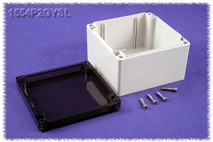 1554P2GYSL - 1554 Series Polycarbonate (UL Listed) Enclosures with Smoked Lid