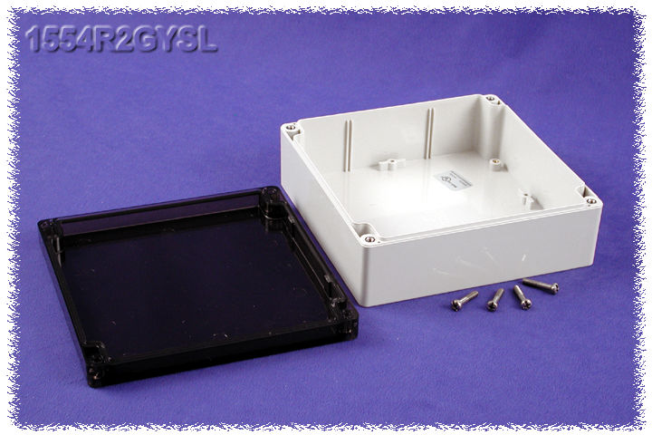 1554R2GYSL - 1554 Series Polycarbonate (UL Listed) Enclosures with Smoked Lid