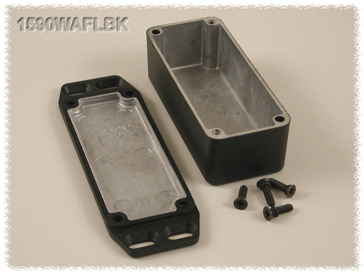 1590WAFLBK - 1590 Series Water-Tight General Purpose Die-Cast Aluminium Enclosures with Flanged Lid