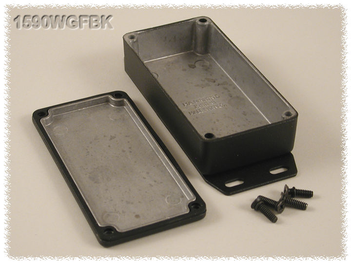 1590WGFBK - 1590 Series Water-Tight General Purpose Die-Cast Aluminium Enclosures with Flanged Bottom Plate