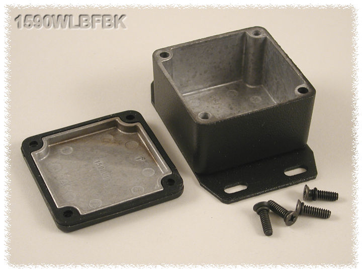 1590WLBFBK - 1590 Series Water-Tight General Purpose Die-Cast Aluminium Enclosures with Flanged Bottom Plate