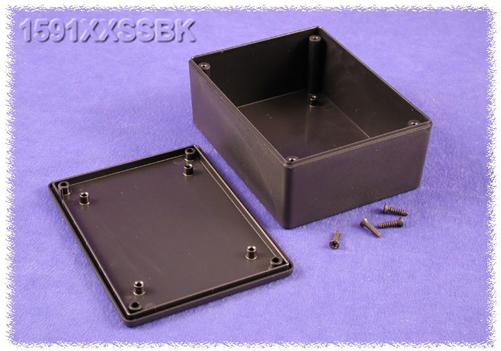 1591XXSSBK - 1591XX Series ABS Plastic Mult-Purpose Enclosures with PC Board Standoffs