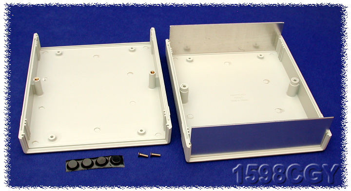 1598CGY - 1598 Series ABS Plastic Instrument Enclosures with Clam Shell Body and End Panels