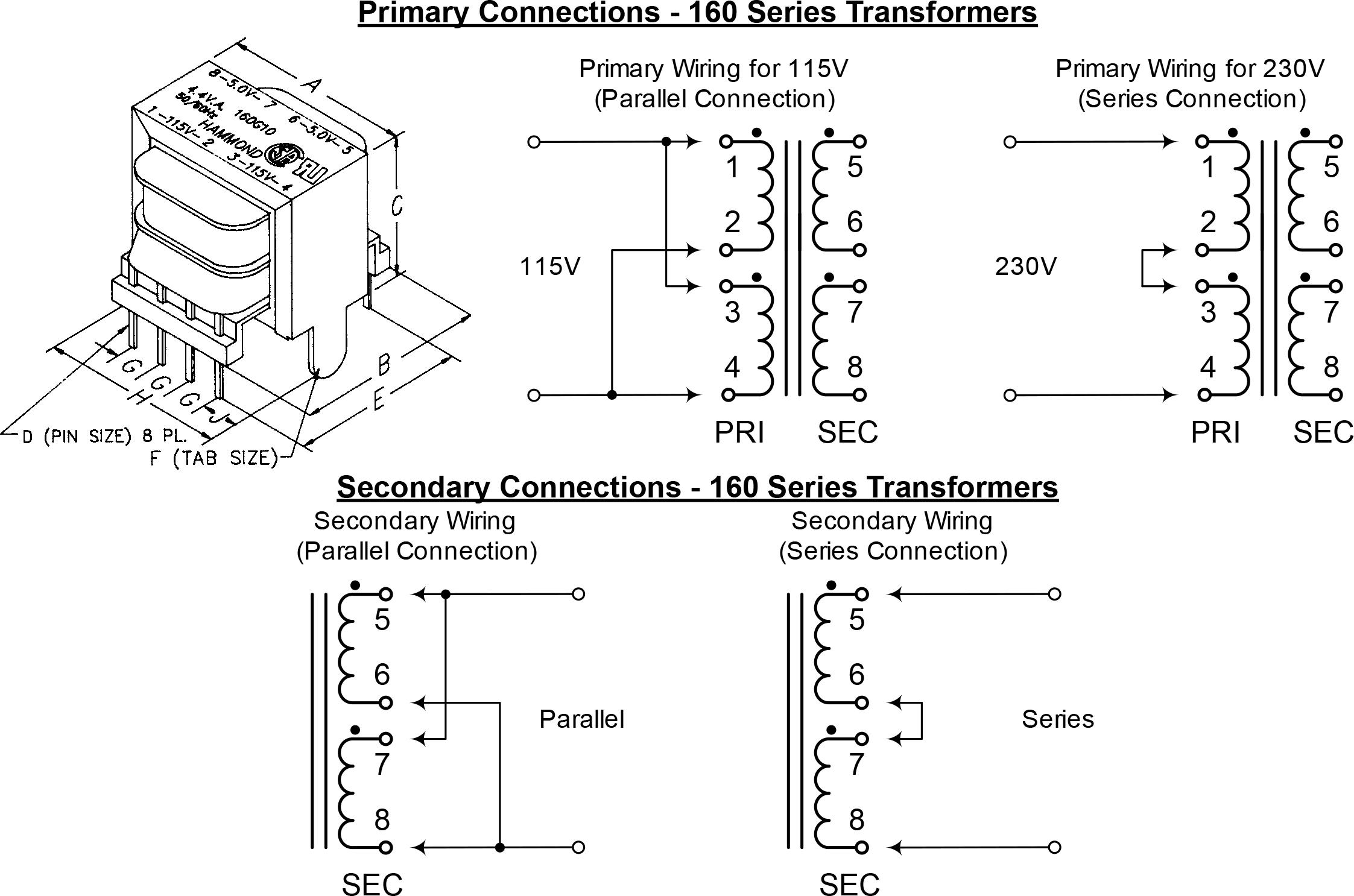 low voltage pc board mount 160 161 series hammond mfg. Black Bedroom Furniture Sets. Home Design Ideas